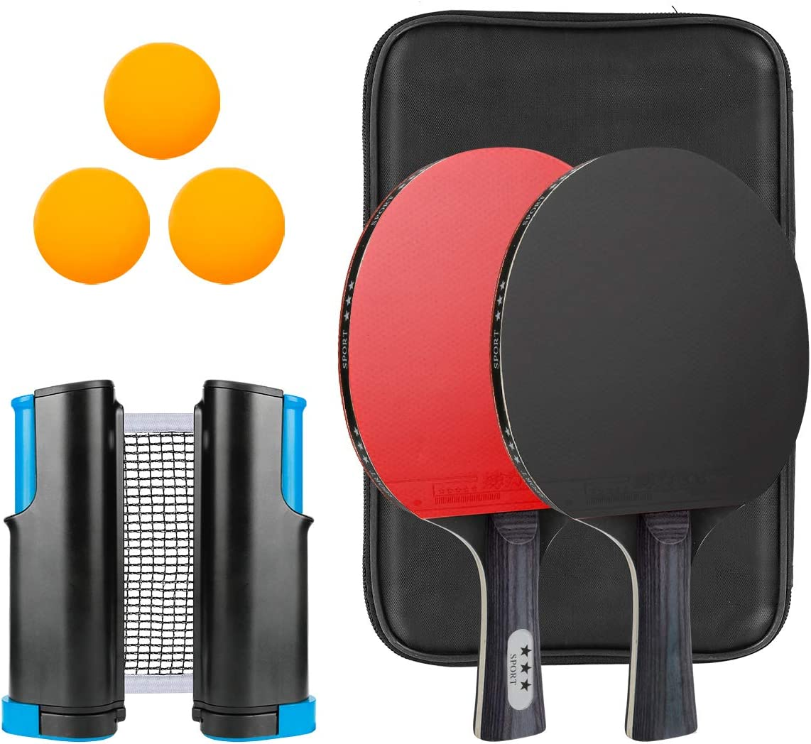 Luckit Ping Pong Paddle Set, 2 Pro Ping Pong Paddles and 3 Ping Pong Balls, Retractable Net with Bracket Clamps, Suitable for Home Indoor or Outdoor Play- 2 Players for All Ages