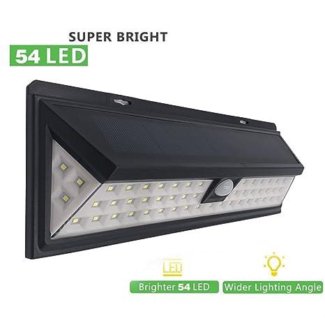 Luz solar de 54 LED, sensor de movimiento PIR solar, ángulo de detección de
