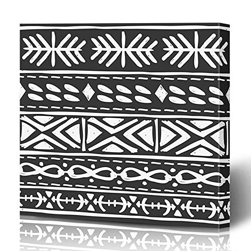 - Ahawoso Canvas Prints Wall Art 16x16 Inches Vintage Purple Folk Tribal Pattern Abstract Retro Mexican Primitive Africa Ancient Aztec Art Decor for Living Room Office Bedroom