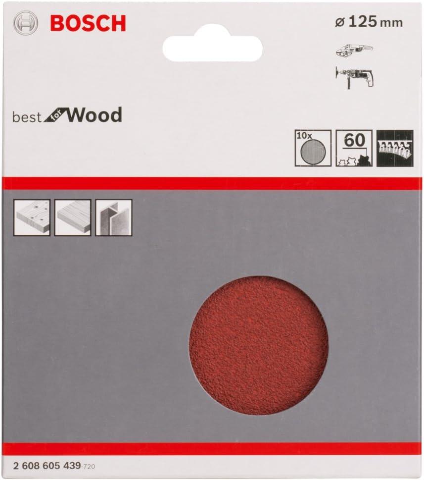 Gris 125.0 Bosch 2608605443 10 Disques abrasifs sur Papier pour Meuleuses angulaires /Ø 125 mm Grain 240