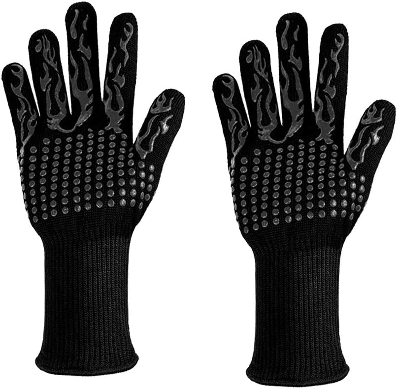 932℉ Extreme Heat Resistant Oven Mitts, Food Grade Kitchen Gloves - Flexible Oven Gloves, Silicone Non-Slip Cooking Hot Glove for Grilling, Baking (Width 4.9 in Black)