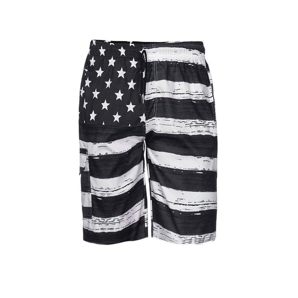 Men Swim Trunks Patriotic American Flag Print Independance Day Inspired Board Denim Puerto Rico Shorts Pants