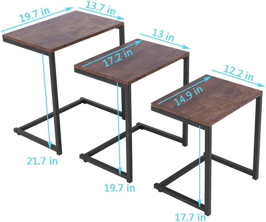 Brown shamoluotuo Nesting Tables Set of 3 Industrial Nesting Coffee Table and End Table Sets Nightstands Vintage Night Tables for Bedroom Home Office Telephone Table Kids C-Shaped Snack Table
