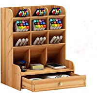 Wooden Office Desktop Organizer, Nelbons Multi-Functional DIY Pen/Lipstick Holder Box, Easy Assembly, Home Supply…