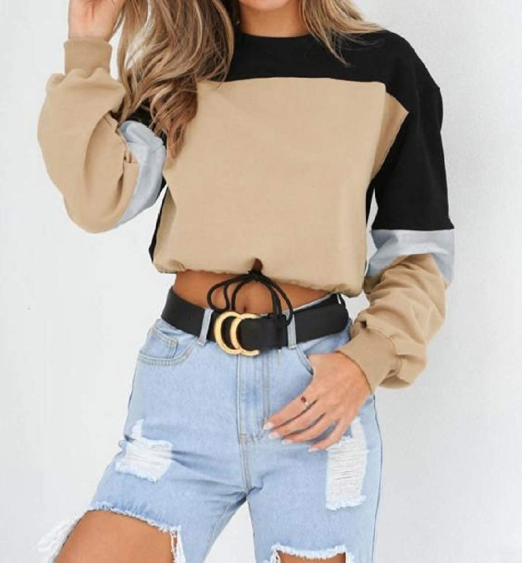 YUNY Womens Patched Round Collar Tops Pullover Hit Color Autumn Sweatshirts Khaki M