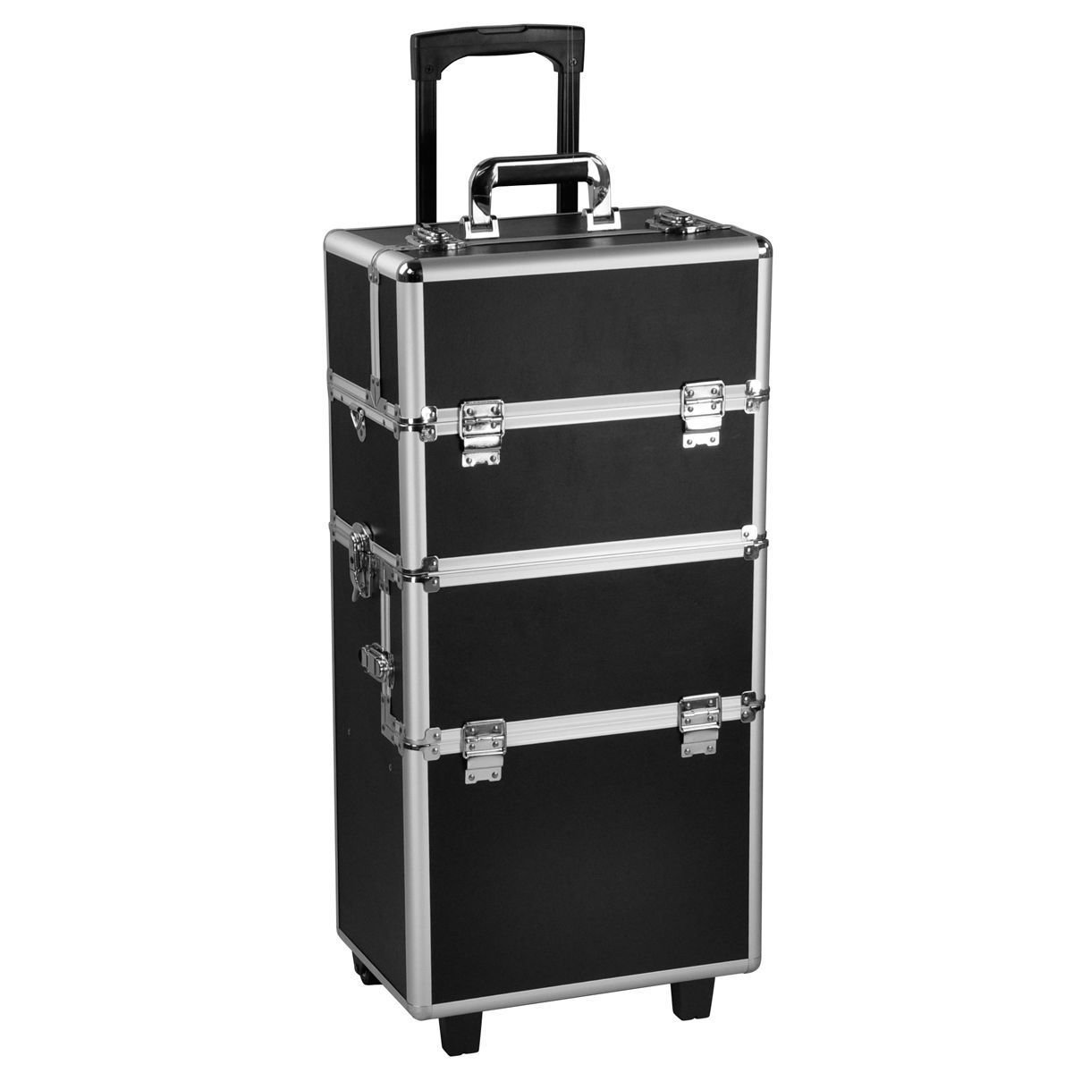 3 in 1 Pro Aluminum Rolling Makeup Case Salon Cosmetic Organizer Trolley-Black By Allgoodsdelight365