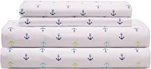 Elite Home Products 90 GSM Microfiber Coastal Beach-Themed Printed Sheet Set, Queen, Anchors Blue