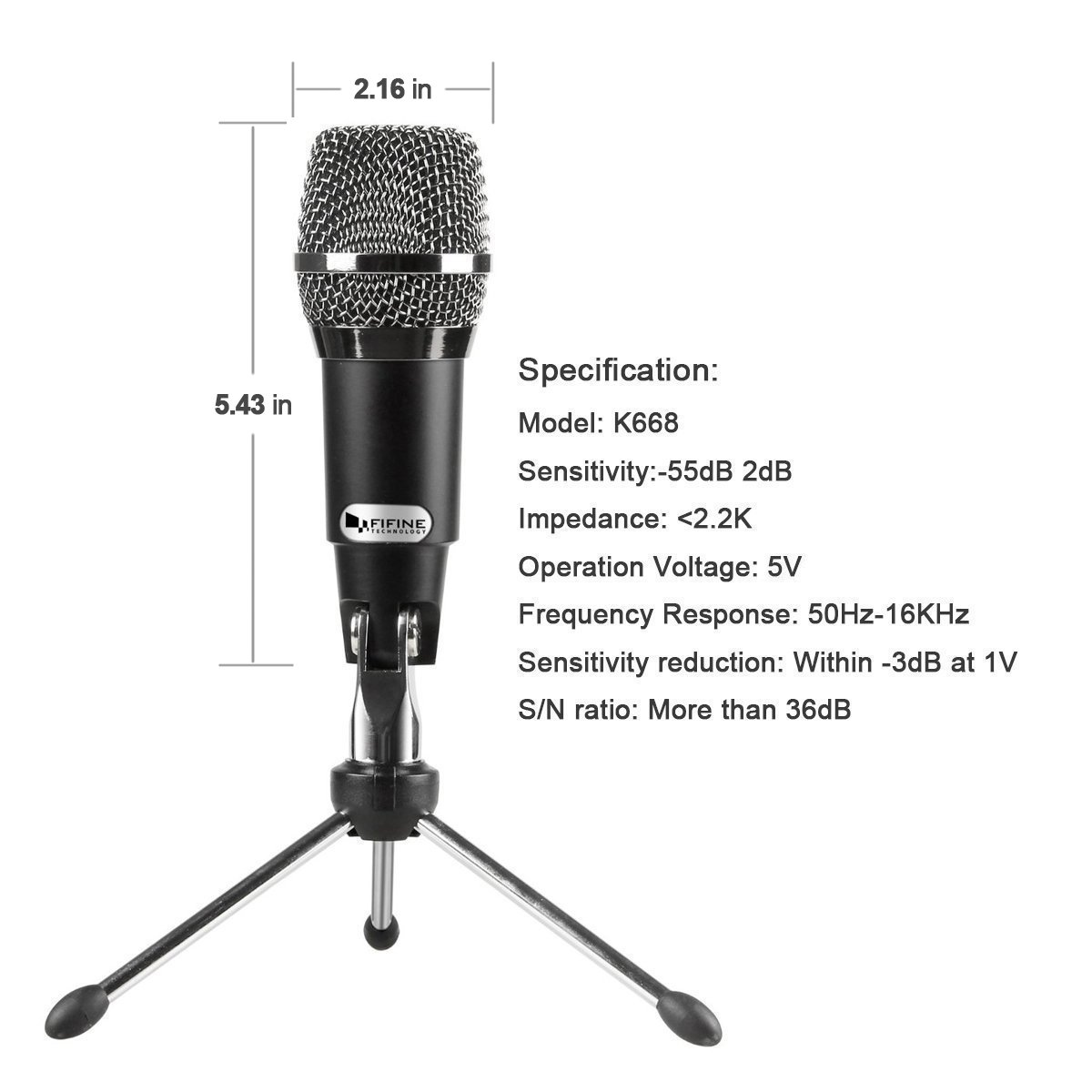 FIFINE TECHNOLOGY USB Microphone,Fifine Plug &Play Home Studio USB Condenser Microphone for Skype, Recordings for YouTube, Google Voice Search, Games(Windows/Mac)-K668 by FIFINE TECHNOLOGY (Image #3)