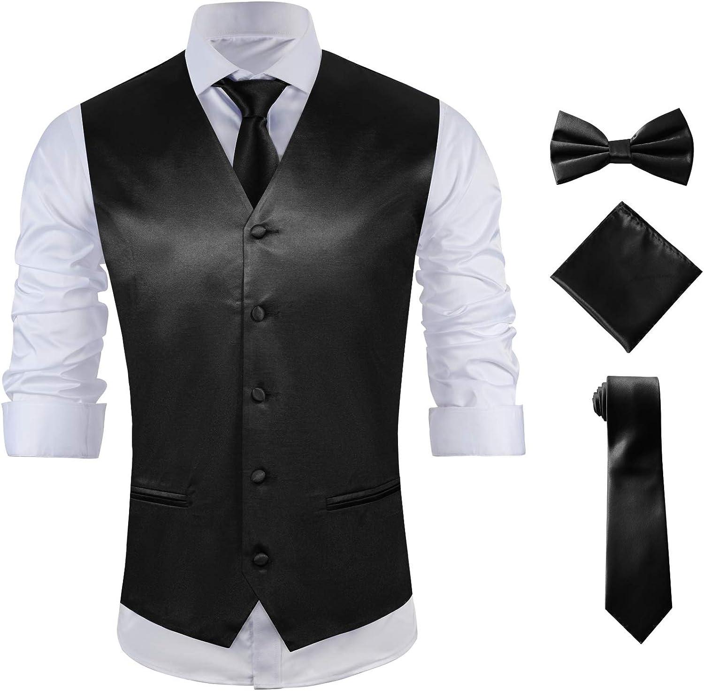 MAGE MALE Men's 4pc Tuxedo Suit Vest Paisley Vest Bow Tie Set Neck Tie & Pocket Square Sets