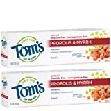 Tom's of Maine Propolis & Myrhh Toothpaste, Natural Toothpaste, Fluoride Free Toothpaste, Fennel, 5.5 Ounce, 2-Pack…
