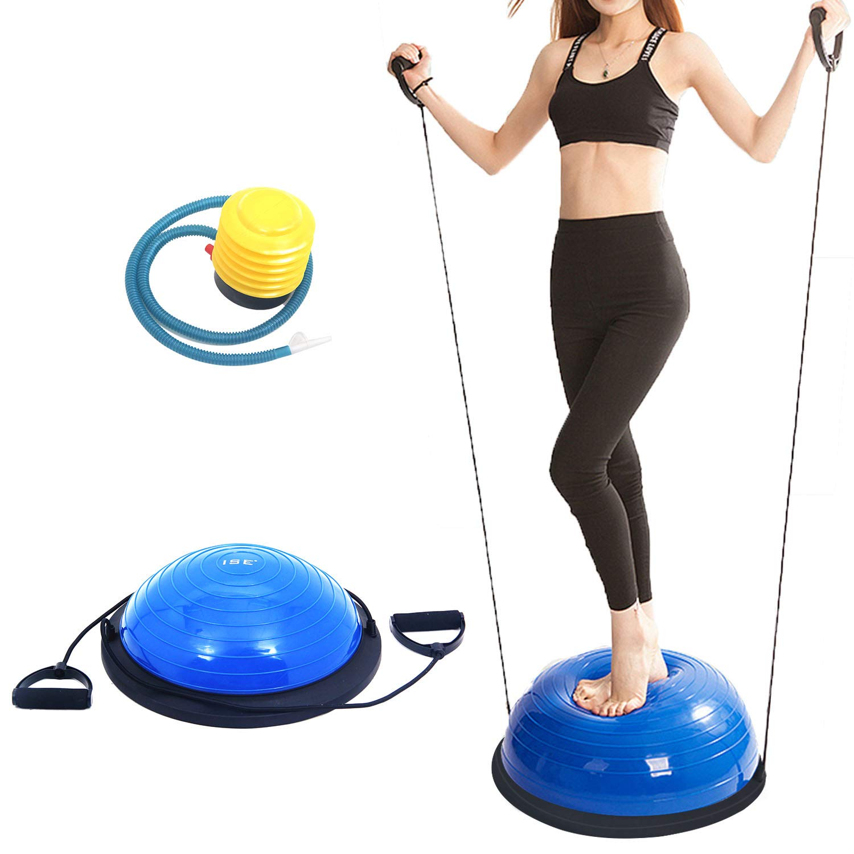 ISE Balance Trainer Fitball Media Bola de Equilibrio para Entrenamiento /Ø 46cm Gym Pelota Bal/ón Semiesfera de Gimnasia Pilates con Cables y Inflador para Yoga y Fitness MAX 150 KG Azul SY-BAS1003