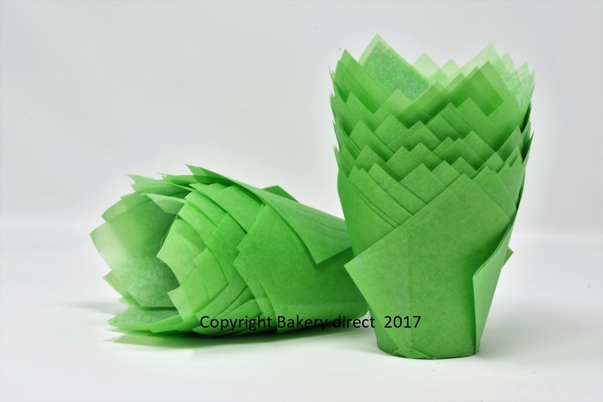200 Bakery direct Green tulip muffin wraps cases FREEPOST