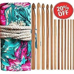 Bamboo Crochet Hooks Knitting Needles Set Kit Wooden Crochet Hooks+ Kntting Bag for Beginners/Professionals(12-Pack)