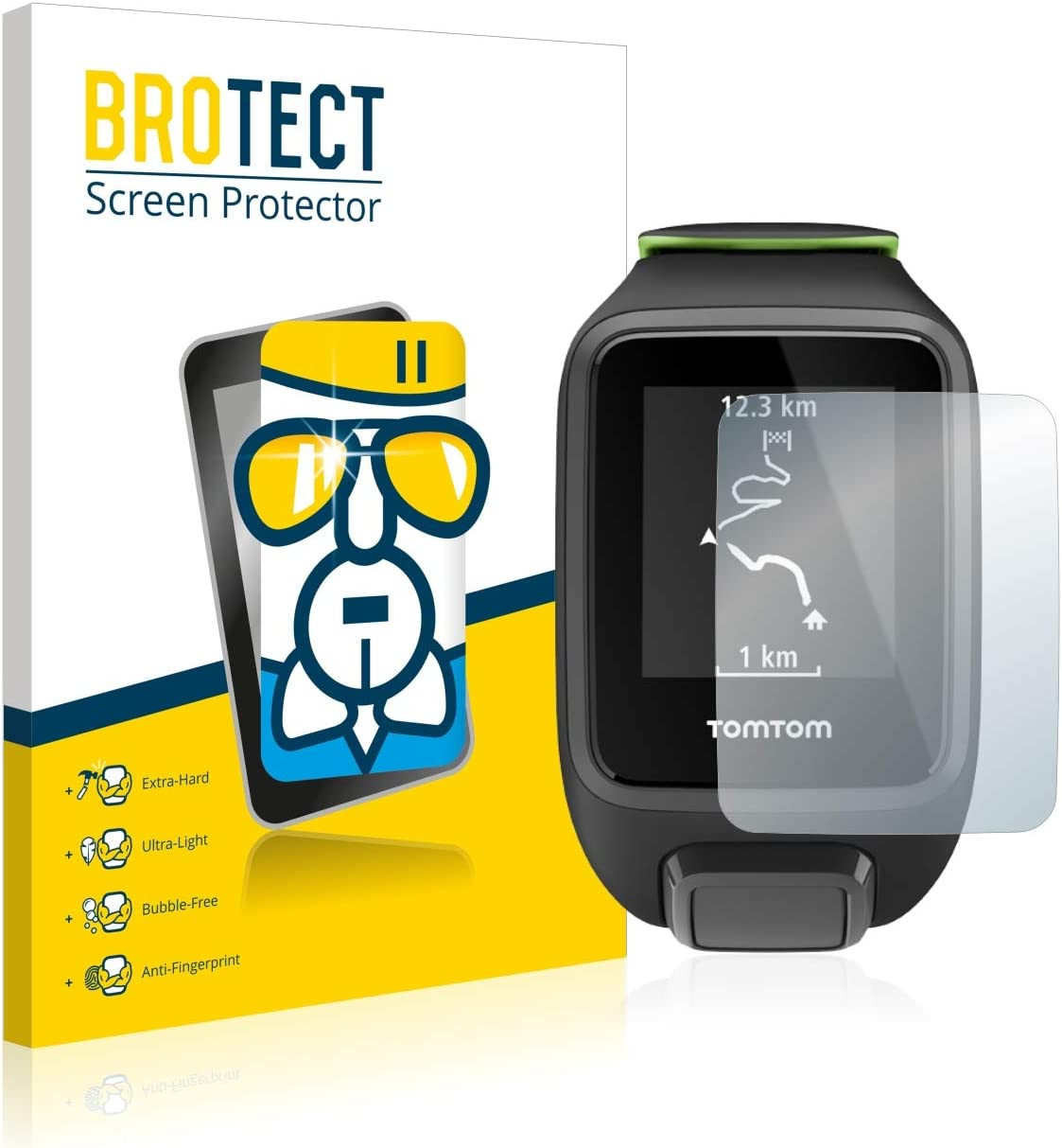BROTECT Protector Pantalla Cristal Compatible con Tomtom Runner 3 Protector Pantalla Vidrio Dureza 9H AirGlass