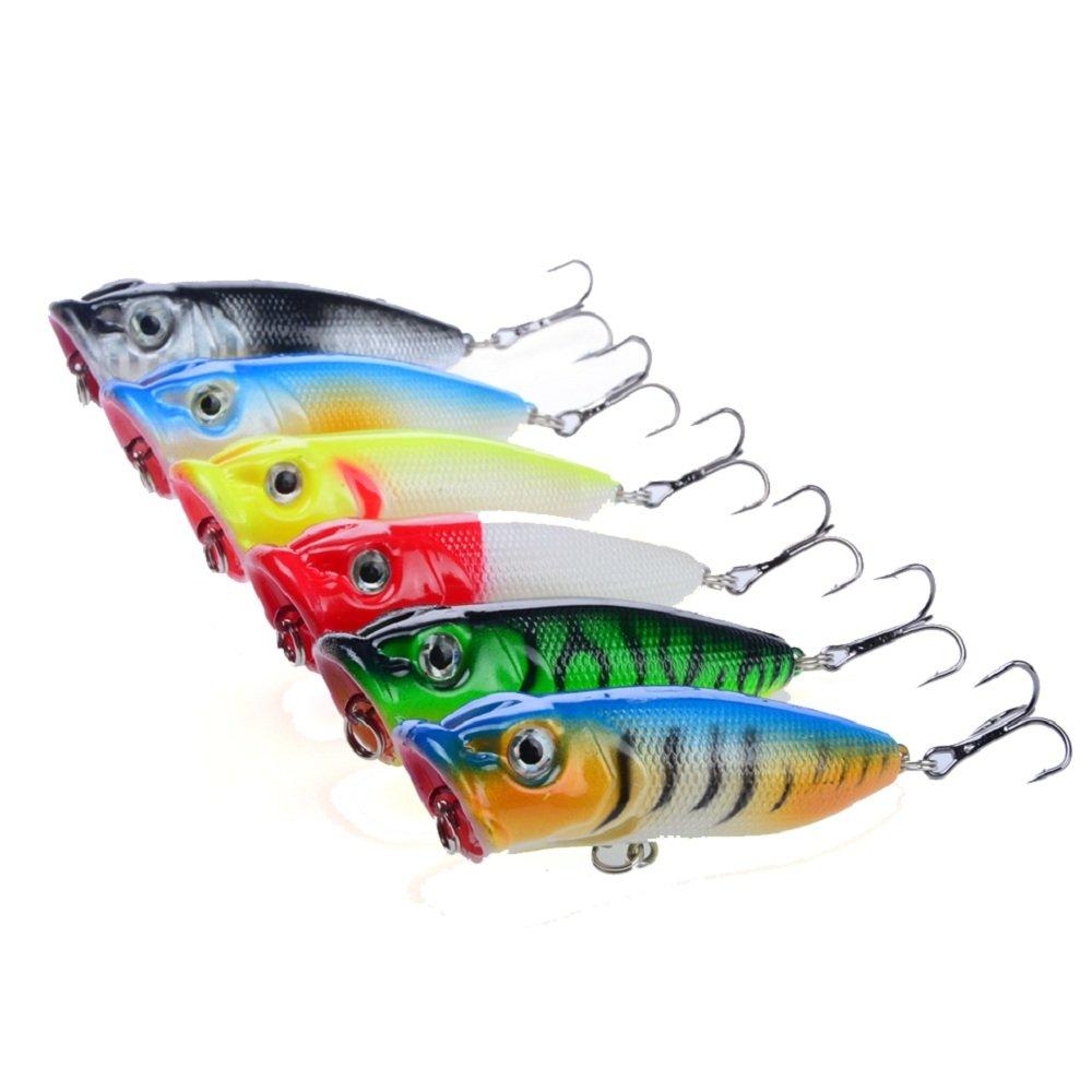 A-szcxtop 6pcs Top Agua flotante Popper duro cebo de pesca señuelos Bass Crankbait Señuelos de Superficie Pesca de agua 11G 6, 5cm 5cm