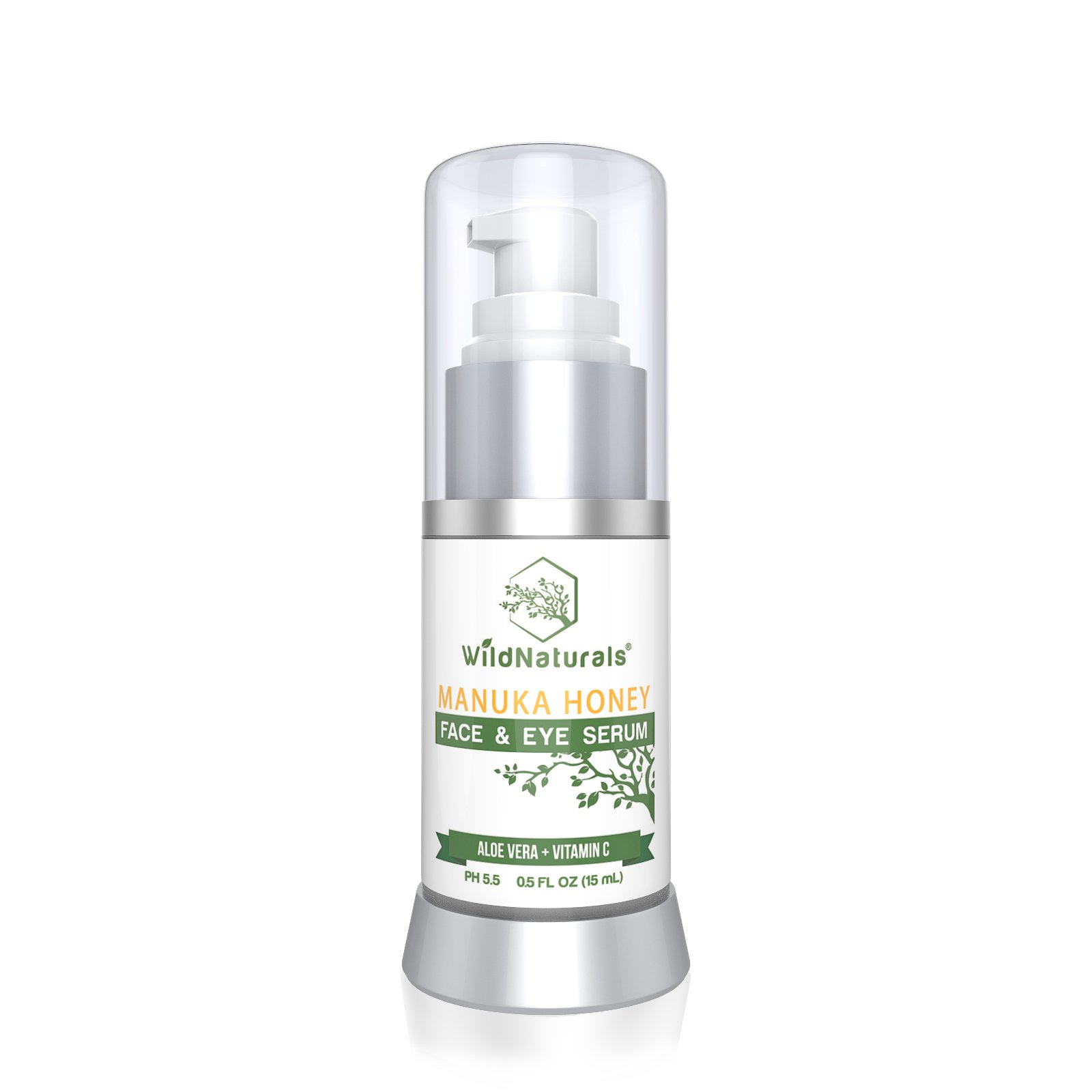 Wild Naturals Anti Aging Serum : With Manuka Honey + Vitamin C + Hyaluronic Acid + Aloe Vera, Facial Moisturizer Reduces Fine Lines, Wrinkles, Dark Circles and Puffy Eyes, For Face, Neck + Decollete