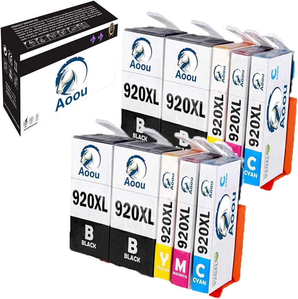 920 Ink Cartridges, Aoou 10 Pack Compatible HP-920XL HP-920 XL HP920XL HP 920 XL Ink Cartridge for HP Officejet 6500 6000 7000 7500 6500A 7500A Printer (4 Black, 2 Cyan, 2Magenta, 2 Yellow) 10 Pack