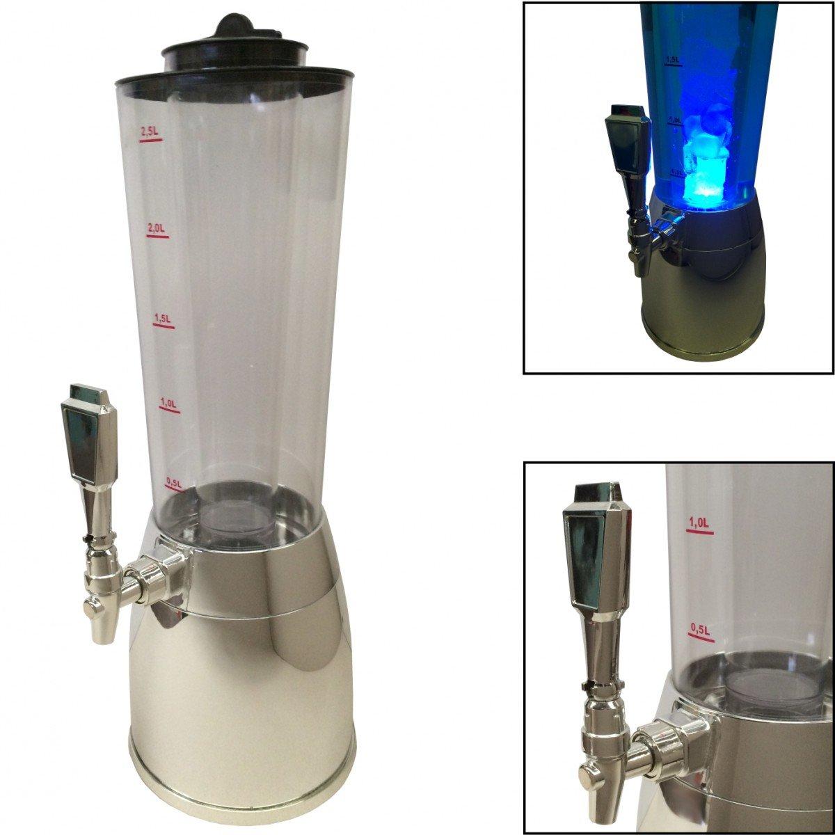 Getränkesäule 4 L Liter Biersäule Biertower mit Kühlröhre und LED Beleuchtung