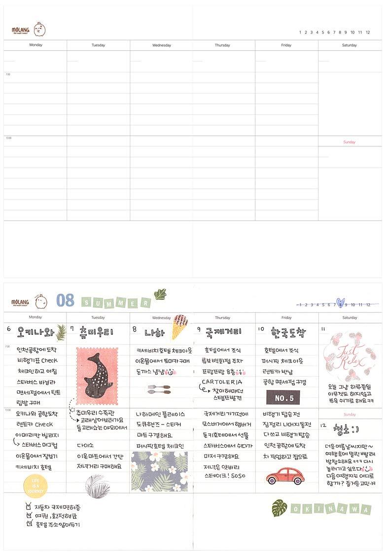 Molang Planner Ver.2 Kawaii Cute Rabbit Diario sin fecha ...