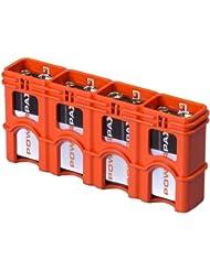 Storacell by Powerpax SlimLine 9V Battery Caddy, Orange, Holds 4 Batteries