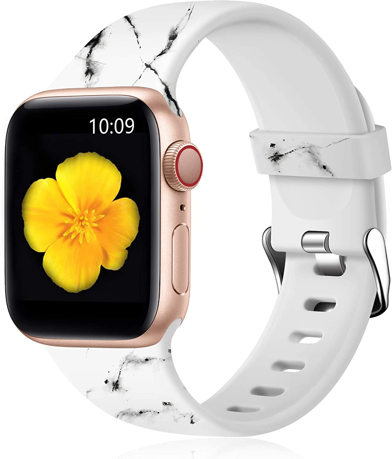 Easuny Floral Band Compatible with Apple Watch SE 40mm 38mm Women - Floral Soft Pattern Printed Cute Fadeless Silicone Replacement Wristband for iWatch Series 6 5 4 3 2 1 Girls,White-Black Marble,S/M