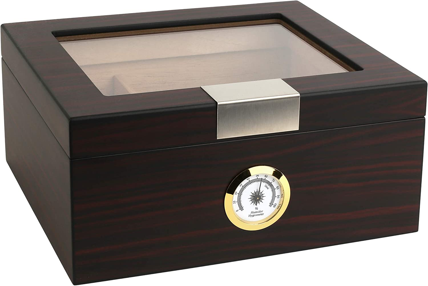 Mantello Ebony Glass-Top Cigar Humidor - Wooden Humidifier Box for Cigars with Hygrometer, Cedar Divider, Packets Holder - Humidity-Controlled Spanish Cedar Storage Container - 25-50 Capacity, 10x8 In