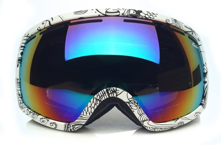 Fit Over Glasses Anti-Fog Anti-Explosion Dual Lense Black and White Pattern Frame Black Mirror Lens with Colorful Membrane Pro Ski Goggles with Case for Helmet in Snow