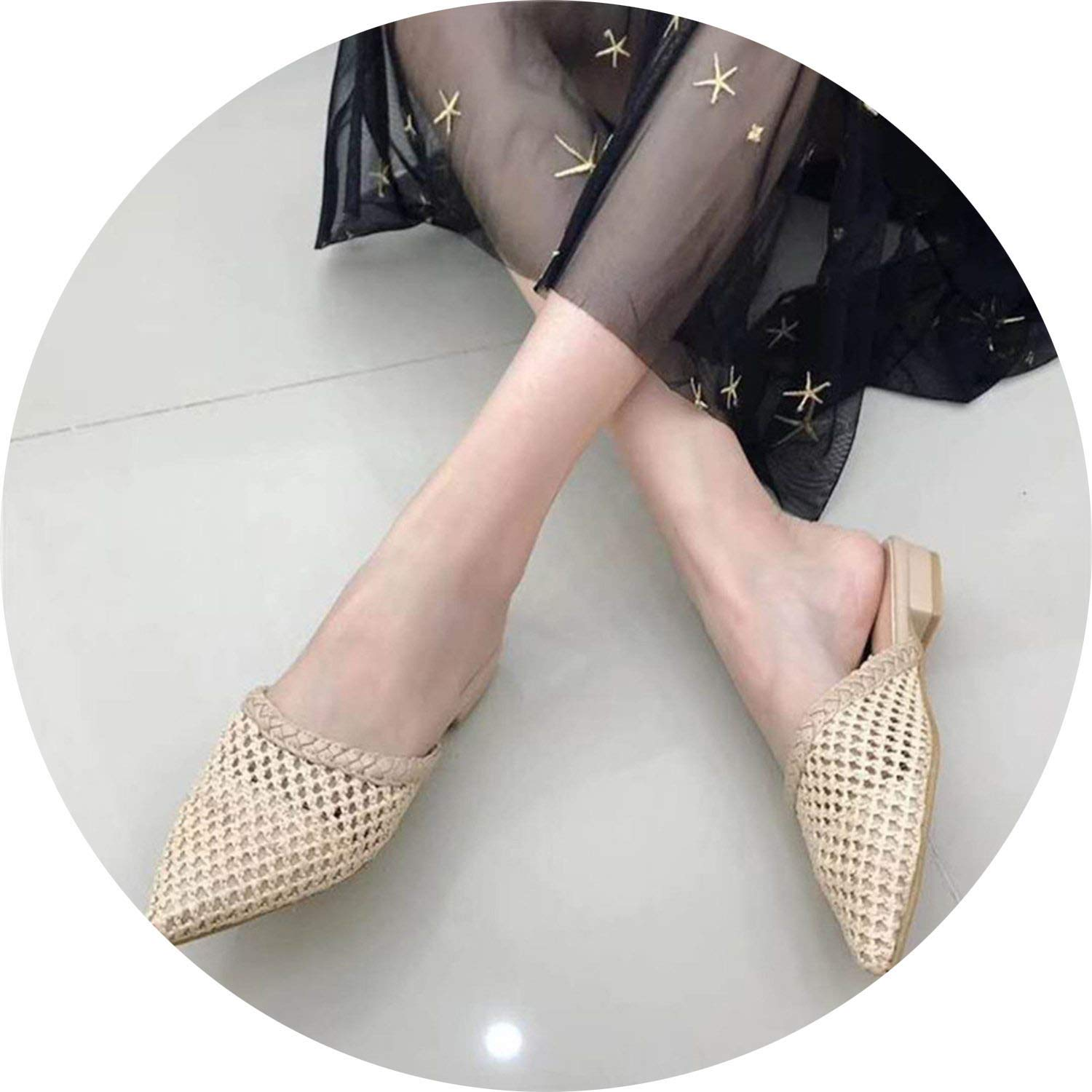 Beige Little lemon Fashion Women Mules Flats Slippers Women Slides Pointed Toe shoes Slippers Mules Slider shoes