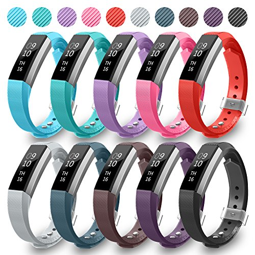 Fitbit Alta Bands,Greeninsync Fitbit Alta Accessory Replacement Band Large for Fitbit Alta Wristbands Available in 18 Colors with Metal Clasp and Ultrathin Fastener (10pack)