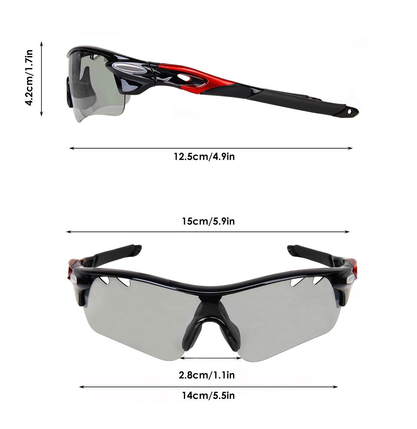 Gafas de sol fotocromáticas Gardom para ciclismo, con protección UV, lente que cambia de color, con correas para conducción, pesca, golf, ...