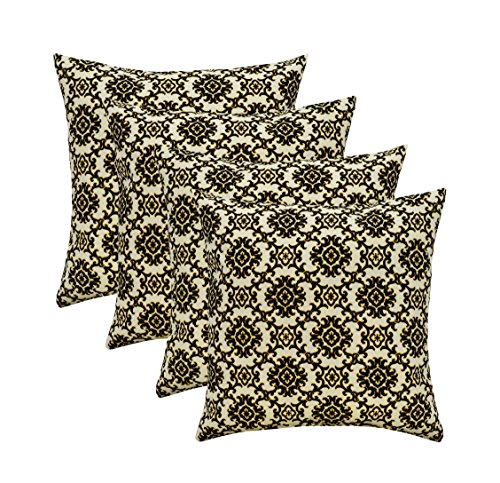 RSH D cor Set of 4 Indoor Outdoor Square Throw Pillows 17 x17 Made with Tommy Bahama Isle Black Sand Medallion