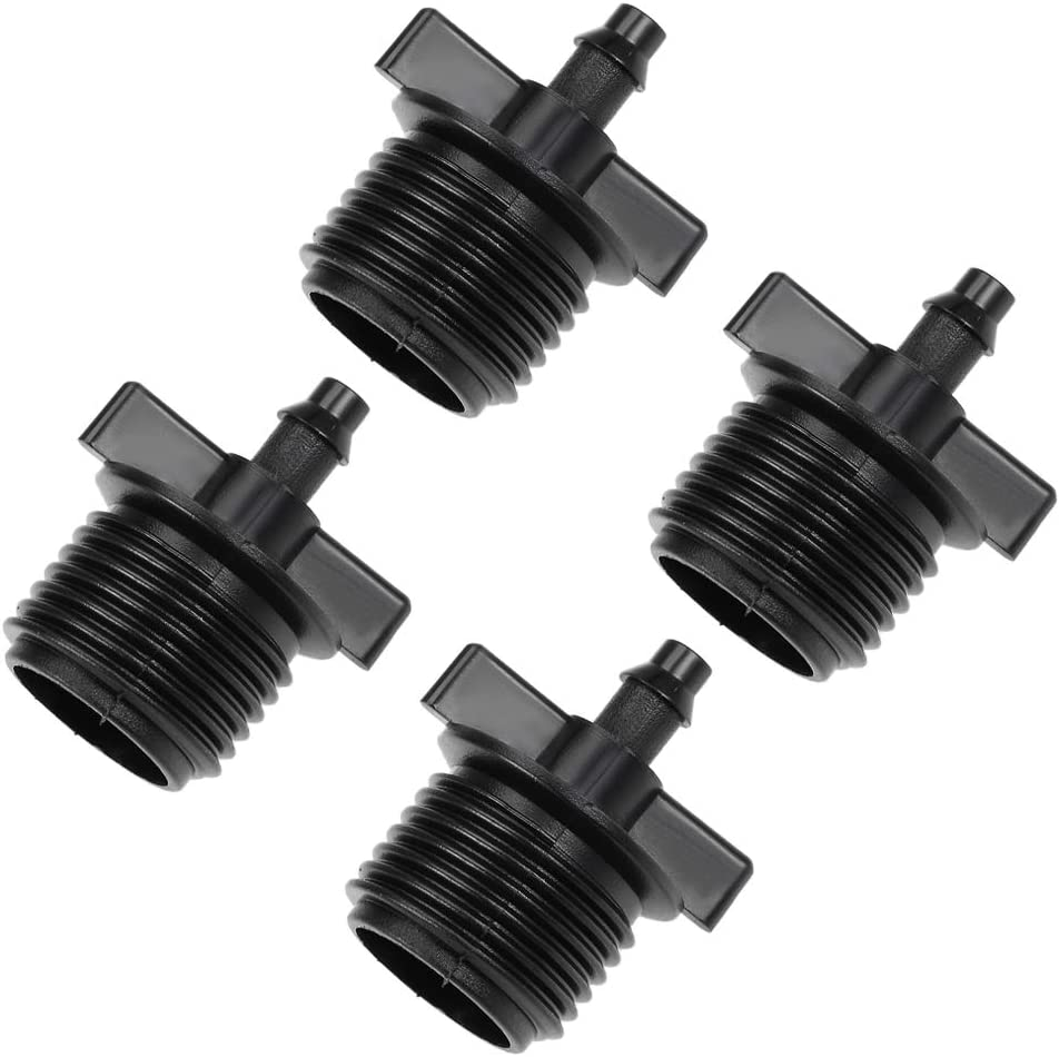 uxcell Barb Drip Pipe Connector 1/2 BSPF Male Thread 4/7mm Hose Fitting for Garden Agricultural Irrigation System, Plastic 10pcs