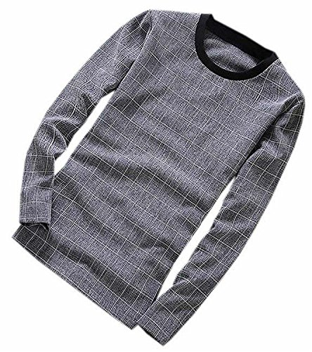 [kaured Mens Fashion Round Neck Long Sleeve Plaid T Shirts GingerSmall] (Morph Suite)