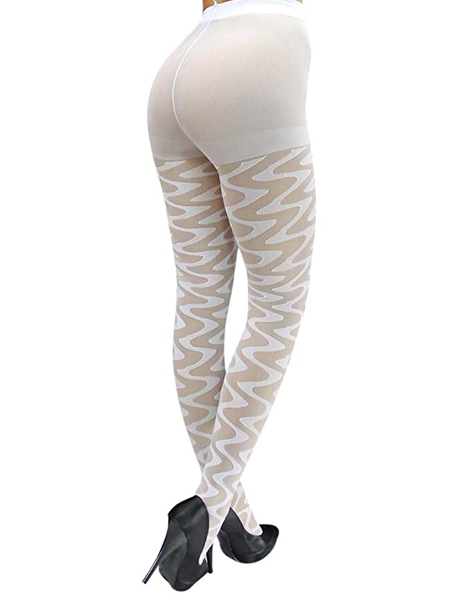 f1ae282c513e6 White Sheer Wave Pattern Hosiery Tights at Amazon Women's Clothing store:  Leggings Pants