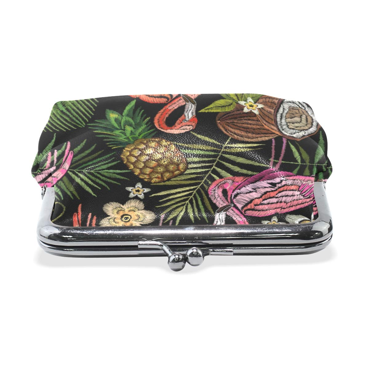 WIHVE Fashion Womens Coin Purse Embroidery Flamingo Tropical Palm Tree Leaves Flower Pineapple Coconut Vintage Pouch Mini Purse Wallets