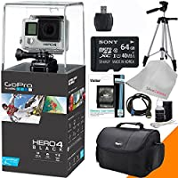 Hero 4 Black - 4k Action Camera with Tripod, Camera Case, Memory Card 64gb, Cleaning Cloth, Reader, Cleaning Cloth