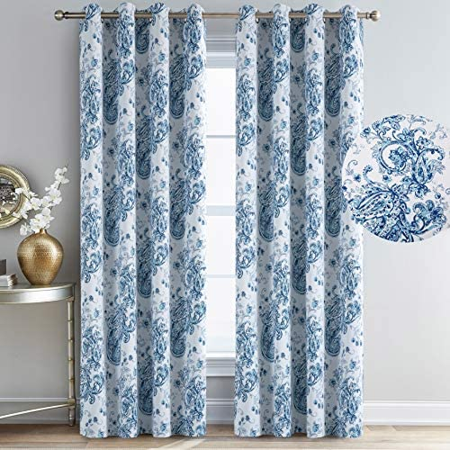 Calimodo Paisley Blackout Curtains Blue White Floral Jacobean 52 x 84 Inches Thermal Insulated Grommets Room Darkening Farmhouse Window Drapes