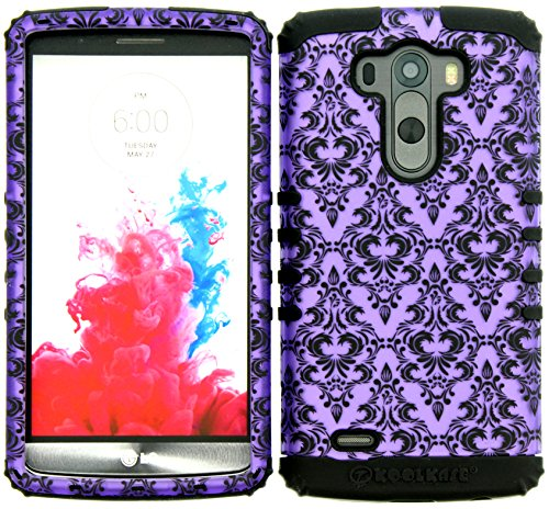 Wireless Fones TM Hybrid Dual Layer Cover Case for LG G3 Victorian Purple Damask Flower On Black Skin from wireless fones