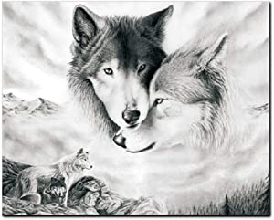 AEVIO Wolf Wall Art Canvas Print Poster Black and White Wolves Photography Art Decor for Living Room Bedroom (Unframed, 16x20 Inches)