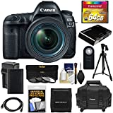 Canon EOS 5D Mark IV 4K Wi-Fi Digital SLR Camera & EF 24-70mm f/4L IS USM Lens with 64GB CF Card + Battery & Charger + Case + 3 Filters + Tripod + Kit