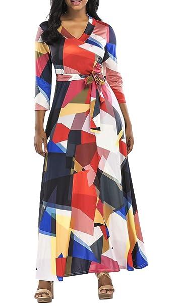 8e262e5c20aeb Landove Vestito Lungo Elegante Donna Cerimonia Abito Incrociato Davanti Maniche  3 4 Vestiti Stampa Floreale