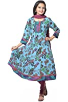 Blue Multi Flower Printed Moss Crepe Anarkali suit