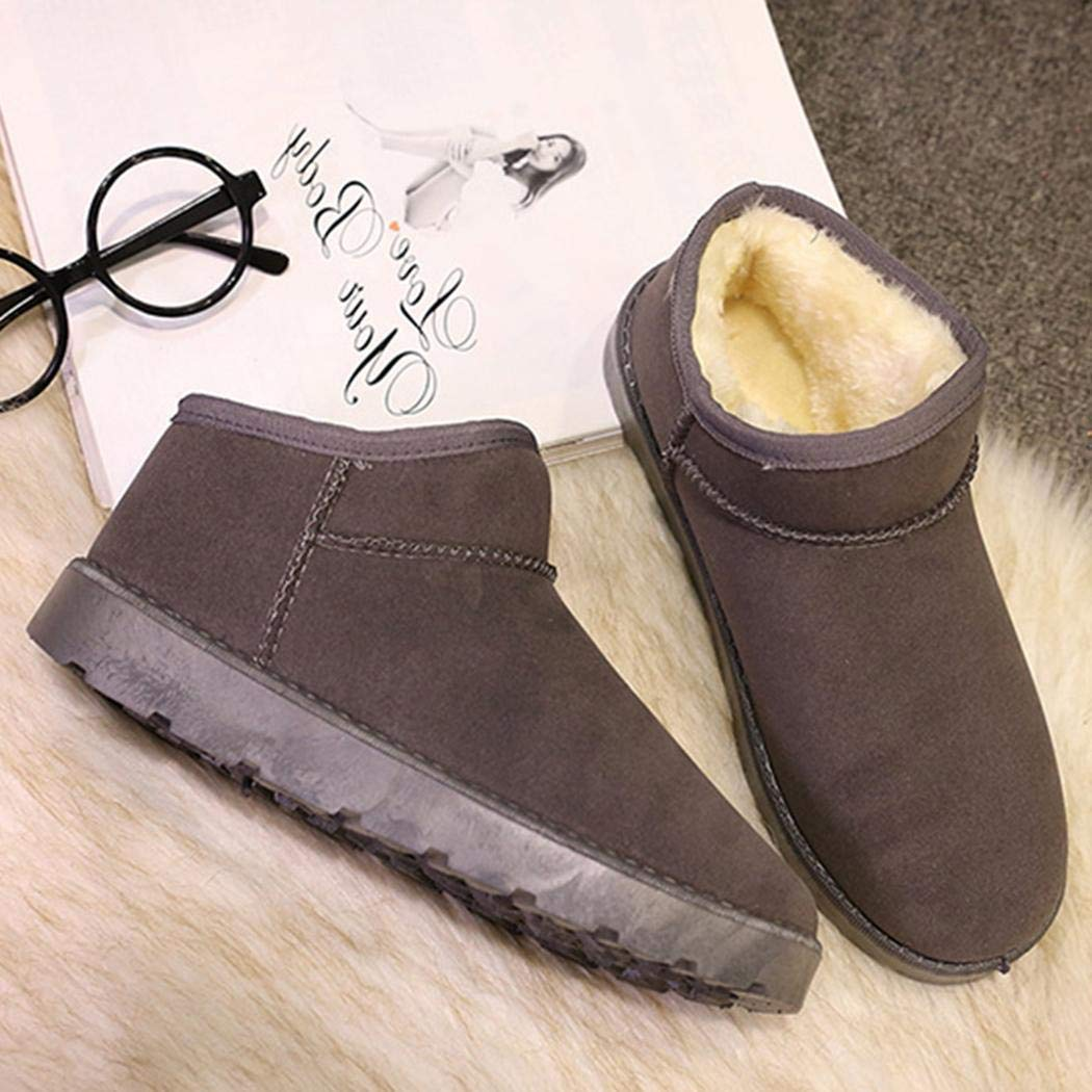 Bifast Women Winter Casual Ankle Slip On Solid Flats Cotton Fleece Shor Snow Boots