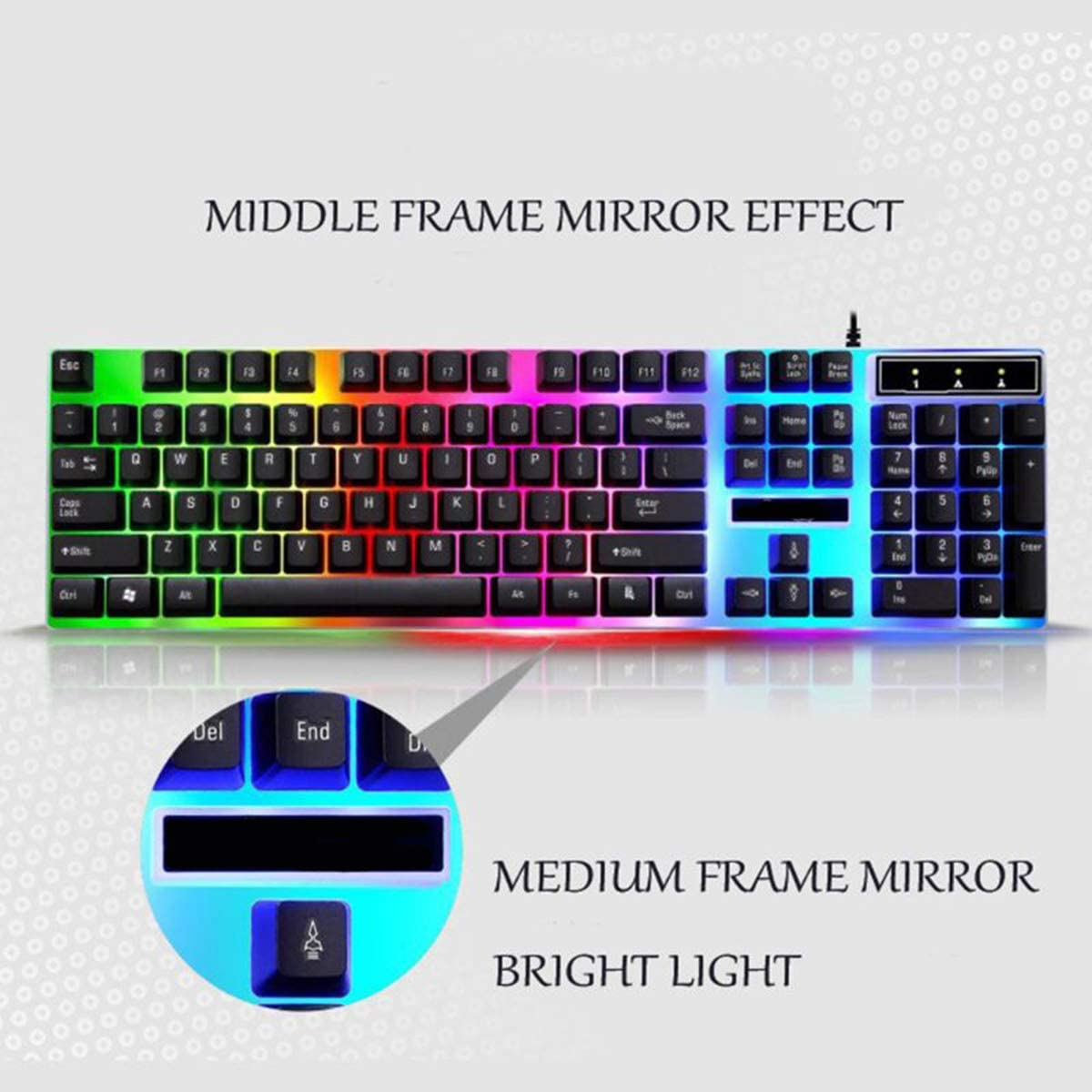 WMG/&GYJ Gaming Mouse and Keyboard,Full Sized Keyboard Ergonomic Keyboard and Mouse Combo for Windows USB Charging Light Keyboard