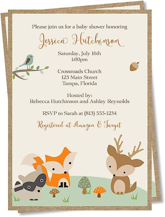Woodland Animals Baby Shower Party Banner Birthday Deer Bird Green Fox Boy Girl 1st 2nd 3rd 4th 5th 6th Boogie Bear Invitations Adrian Theme