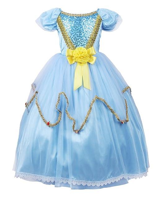 JerrisApparel vestido de princesa Disfraz Cosplay vestido de novia Niña (110cm, Azul)