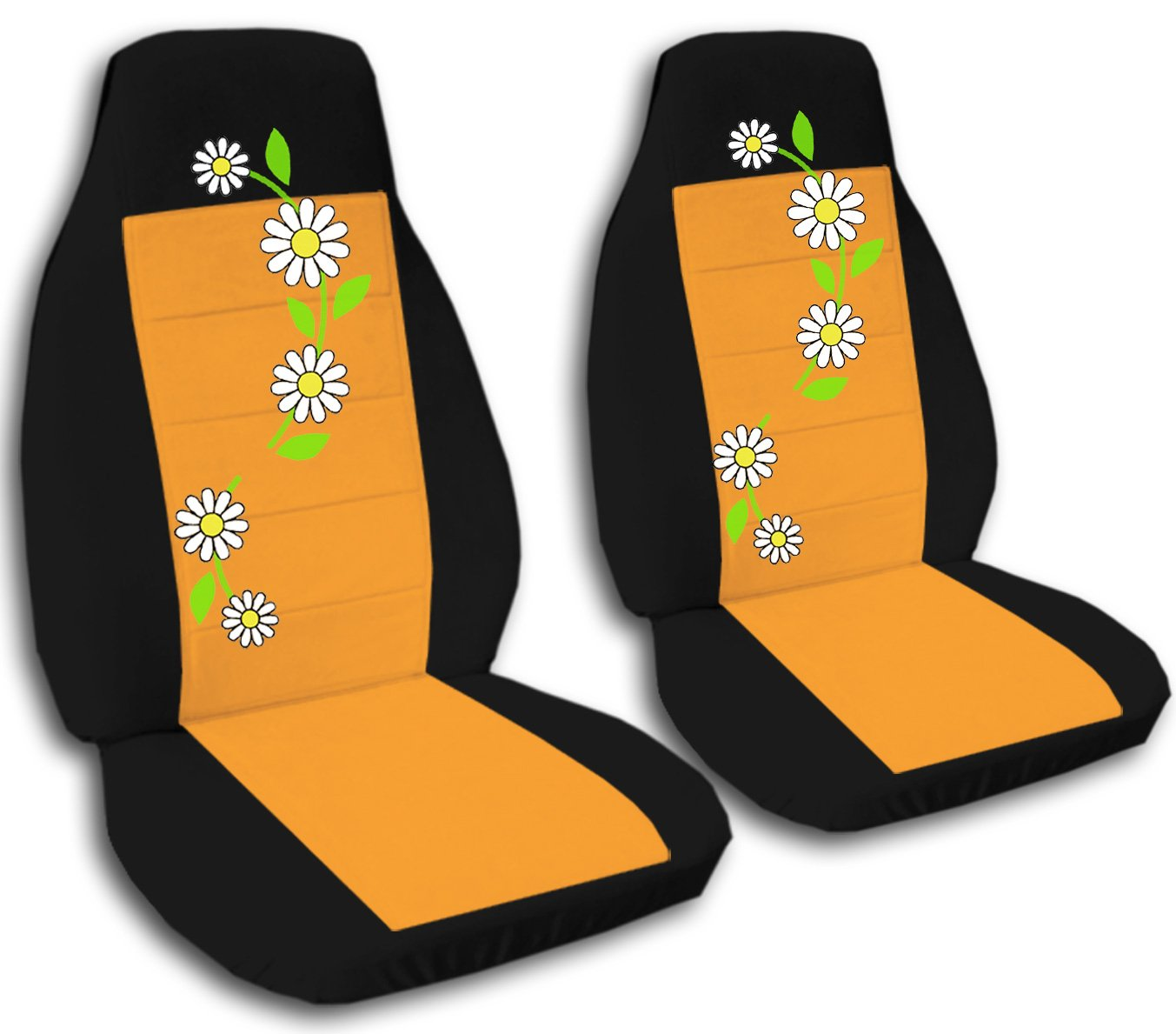 Amazon 2 Black And Orange Daisy Seat Covers For A 2005 Mini Cooper S Convertible Side Airbag Friendly Automotive