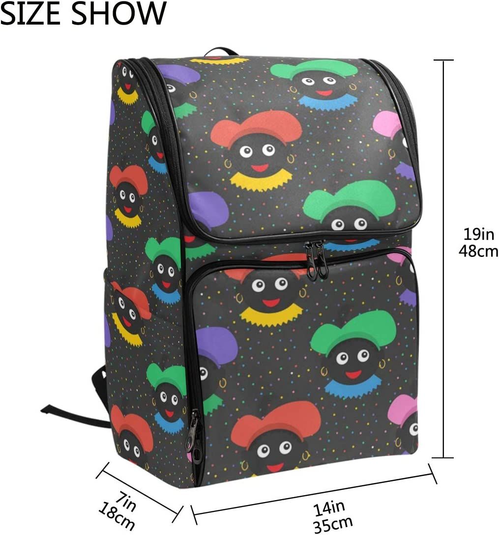 Casual Large College School Daypack FANTAZIO Colorful Zwarte Piet Pattern Laptop Outdoor Backpack Travel Hiking Camping Rucksack Pack