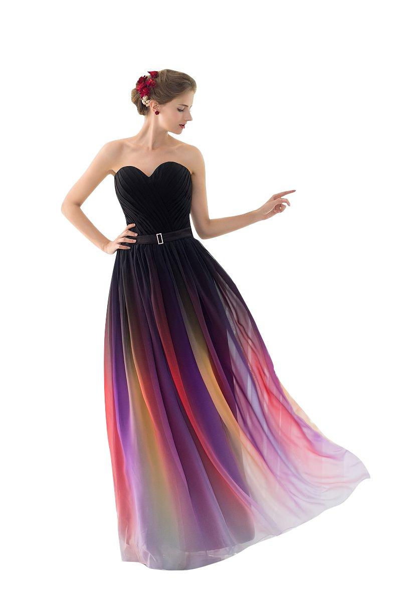Beauty-Emily グラデーション スイートハート ネック ライン イブニングドレス B01M08M8J3 JP13|マルチカラー マルチカラー JP13