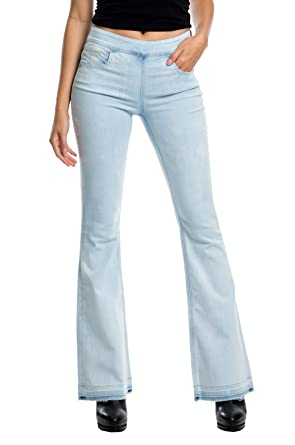 Elan Women's High Waist Bell Bottom Stretch Jeans at Amazon ...